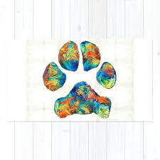 colorful dog paw print by rug rugby