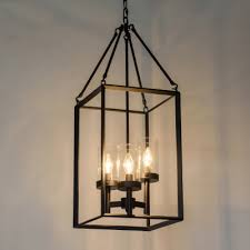 industrial 3 light chandelier with clear glass shade in black finish