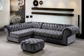 ... Modern L Shape Leather Black And Grey Sectional Sofa Including Large  Glass Wall In Living Room And Rectangular Cream Beige Velvet Living Room  Rug Image