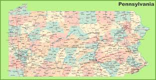road map of pennsylvania with cities