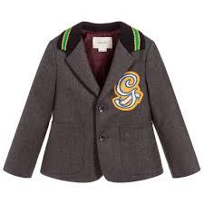Boys Designer Blazer Boys Grey Wool Blazer For Boy By Gucci Discover The Latest