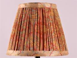 Pale Yellow With Blue And Pink Silk Lampshade