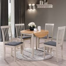 alston painted grey round dining table set 4 chairs with oak top