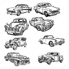 イラストは手描きスケッチ セット古い車 Isol の落書き ストック
