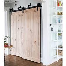 winsoon 4ft byp barn door hardware sliding kit 4 16ft for interior exterior cabinet closet doors with hangers j shape roller 2 piece 4 foot rail