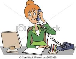 secretary desk clipart. Modren Desk Secr1jpg Secretary In The Office Sitting At A Table Talking On  Phone With Desk Clipart Can Stock Photo