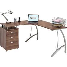 corner office desk wood. Desk Stunning Dark Brown Modern Corner Office Oak Wood Top Silver Metal Legs G