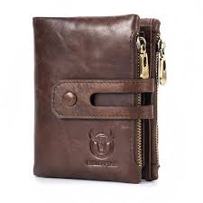 bullcaptain rfid antimagnetic vintage genuine leather 14 card slots coin bag wallet brown cod