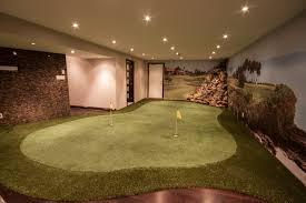 basement golf green with mural jpg
