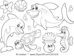 Cute Sea Animal Coloring Pages With Sea Animals Coloring Pages