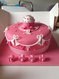 Baby Girl 1st Birthday Cake By Julie Anderson Cakesdecor