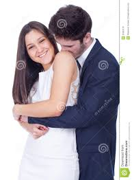 happy couple hugging and kissing
