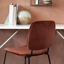 House Doctor Comma Velvet Chair Rust Red
