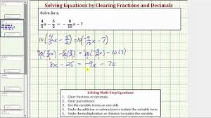 solve an equation with fractions and variables on both sides clear fractions