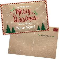 50 Christmas Cards Happy Holiday And Happy New Year Cards 2019 Bulk Postcards Set With Seasons Greetings Message Kraft Thank You Notes For