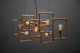 large copper pipe ceiling lamp inspired by installation art