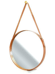 round mirror with leather strap leather round mirror round hanging mirror with leather detailing leather strap round mirror with leather strap
