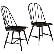 black windsor chairs. Target Marketing Systems Windsor Set Of 2 Mixed Media Spindle Back Dining Chairs With Saddle Seat Black L