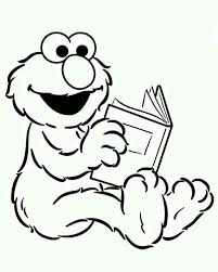 Baby Elmo Reading A Book In Sesame Street Coloring Page Color Luna