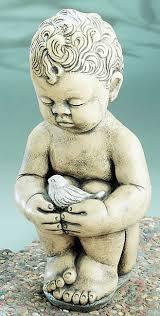 on a cute garden statue the