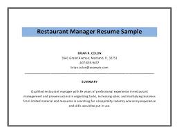 restaurant resume objective restaurant manager resume objective restaurant manager resume sample