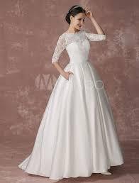 Satin Prinzessin Brautkleid Lace Ball Kleid Brautkleid halblangen ...