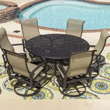 full size of acadia piece sling patio dining set with swivel rockers round table outdoor l