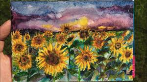 sunflower field watercolor painting