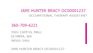 1033524830 NPI Number | JAMI HUNTER BRACY OC00001237 | OLYMPIA, WA | NPI  Registry | Medical Coding Library | www.HIPAASpace.com © 2020