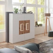 Ideal Möbel Falan Highboard Type 52 Für Ihr Wohnzimmer Oder Esszimmer Moderne Anrichte Mit Zwei Türen Mit Korpus In Weiß Mit Absetzungen In Eiche