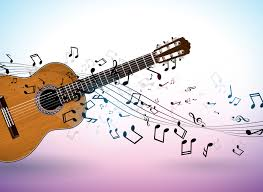 Guitar Design Music Banner Design With Acoustic Guitar And Falling Notes