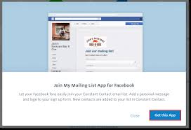 constant contact signup form add the join my mailing list facebook app to your facebook business page