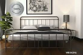 Details about Metal Bed Frame KING Farmhouse Iron Vintage Mid Century Rustic Country Style Brz