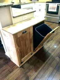 wooden garbage bin double trash can cabinet wood kitchen storage brilliant island with oak cans large kitchen trash can