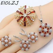 925 silver jewelry sets for women snowflake pomegranate red crystal earring sets pendant rings drop earrings