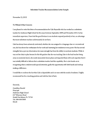 Recommendation Letter For Teaching Position Recommendation Letter For A Teacher 32 Sample Letters