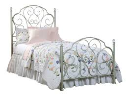 Metal Bed Bedroom Standard Furniture Spring Rose Twin Metal Bed In White Pearlescent