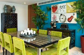 dining room with lime green dining chairs and