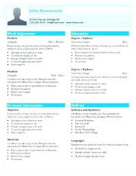 Free Templates For Resume Simple One Page Resume Template Word Free 44 Templates Shades Of Blue