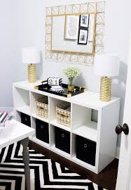 Black and white office decor Industrial Home Office Tour Southern Made Blog Simple And Sleek Black White And Gold Home Office Reveal safaviehrugs hobbylobby target athomestores Pinterest Home Office Tour Future Home Pinterest Home Office Decor
