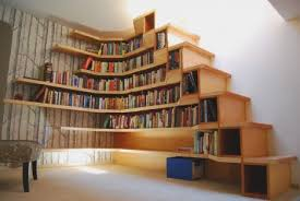 Compact Stairs Corner Bookcase