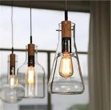 Modern Clear Glass Laboratory Bottle Pendant Light Fixture DIY Home  Decoration Dinning Room Bar Cafe Wood