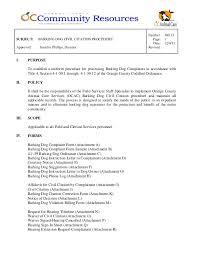 Sample Civil Complaint Form Stunning 4848 Barking Dog Civil Citation Procedure