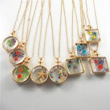 9pieces mix women lover gift gold chain dry flower beauty pendant necklace glass pendant