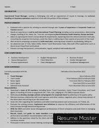 Sample Travel Management Resume Tours And Travels Manager Resume Master