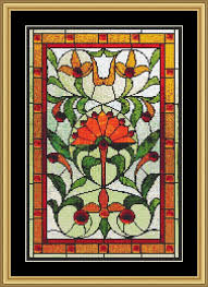 Art Deco Cross Stitch Charts Counted Cross Stitch Pattern Art Nouveau Lotus Stained Glass Cs0822