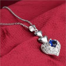 whole fashion high quality 925 silver heart shaped pendant necklace charms blue diamond pendant necklace fashion jewelry wedding gifts glass pendant