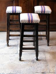 19th cent english upholstered wooden bar stools