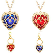 new the legend of zelda hollow pendant necklace blue red heart container jewelry
