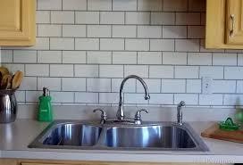 painted subway tile kitchen backsplash